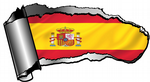 Ripped Open Gash Torn Metal Design With Spain Spanish Country Flag Motif Vinyl Car Sticker 140x75mm